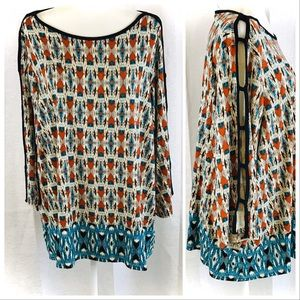 ROSE & OLIVE Aztec Print 3/4 Sleeve with Slits 3X